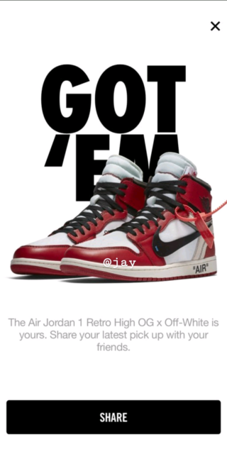 d7f8f2ce243c Off-White Nike Air Jordan 1 Retro High OG RED - Size US 9 - NEW ...