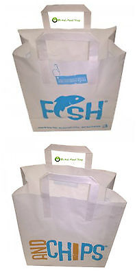 100 Fish & Chips Carrier Bags with Handles - White Paper 260 x 390 x 305mm
