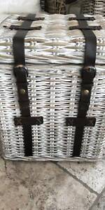 STORAGE TRUNK SIDE TABLE RATTAN CANE WASHED LOOK NEW