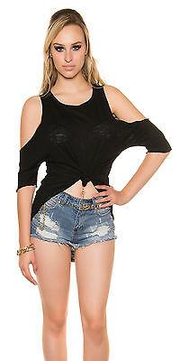 High Low Shirt mit freier Schulter Top Shirt Oberteil XS S M 34 36 38   online kaufen