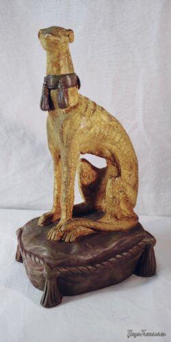 Sculpture of Greyhound Tasseled Collar Sitting on Pillow Statue Felted Bottom