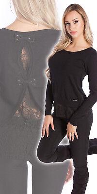 Und 1 Pullover (Sexy 2in1 Pullover Pulli Feinstrick Pulli Spitze und Schleifen Schwarz 34 36 38)