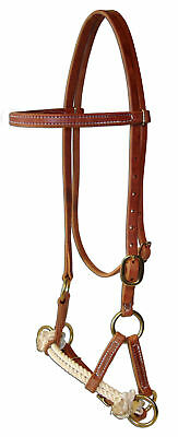 Western harness leather double rope side pull USA natural custom cowboy  H4005 Double Rope Side Pull