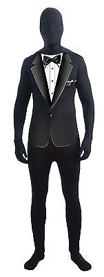 White Skin Suit Halloween Costume (DISAPPEARING MAN BLACK FORMAL SUIT SKIN SUIT ADULT STD UNISEX HALLOWEEN)