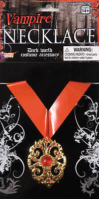 VAMPIRE MEDALLION COUNT DRACULA NECKLACE ADULT HALLOWEEN COSTUME ACCESSORY ](Halloween Costume Gold Medal)