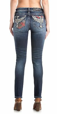 d5879f6831254 Miss Me Women s Hailey Wing-Cross with Plaid Mid-Rise Skinny Jeans ...