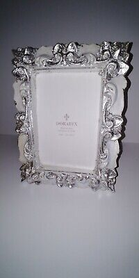 Doratex 4x6 Made In Italy Ornate Picture Frame, Silver Plated Foil. -