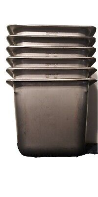 Set Of 6 Used Deep Six Inch Stainless Steel Steam Table Pans