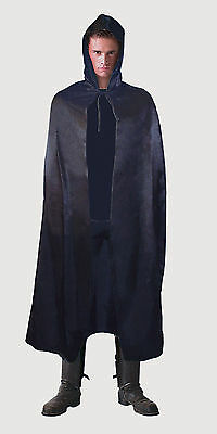 Black Hooded Cape Halloween Fancy Dress Costume Grim Reaper Vampire Outfit