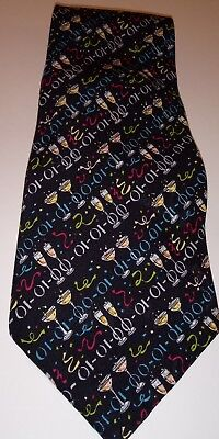 Nicole Miller Mens Necktie 100% Silk - New Years Eve Theme EUC - New Years Eve Theme