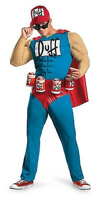 Mens Duffman Costume Muscle The Simpsons Duff Man Halloween XL Beer Holster NEW](Beer Halloween Costumes)