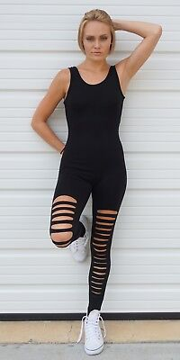 Slashed Leg Stretch Cotton Unitard | Black Burgundy S M L Active Basic USA P2954 - Black Cotton Unitard