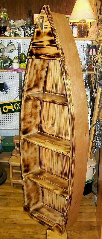 **NEW** Custom 5 Ft Handmade Wood Canoe Nautical Boat Shelf - Choose finishing!