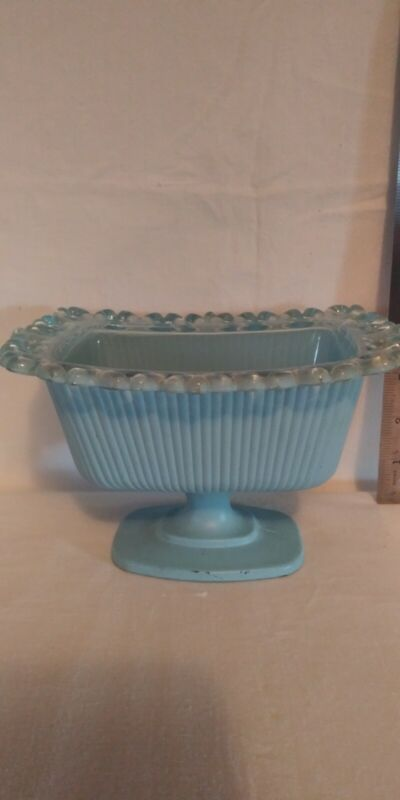 Indiana Glass Light Blue Rectangular Lace Edge Candy Dish No Lid