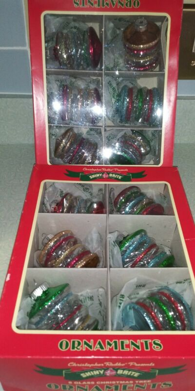 Shiny Brite Boxed Christmas Ornaments Six Lantern Shaped Glass Tinsel Glitter