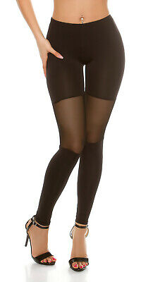 Sexy Basic Leggins Leggings Legging Hose mit transparentem Mesh Schwarz 34 36 38 Basic Leggings