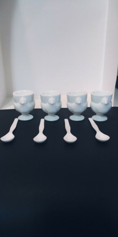 Egg Cups And Spoons Set Of 4 Porcelain White Great For Easter Little Chicks.