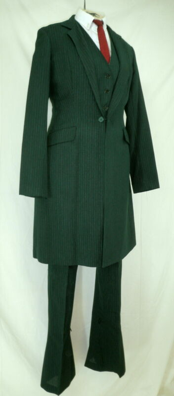 Reed Hill Saddleseat Ld 3p suit Hunter Green Pin Wool Blend size 14