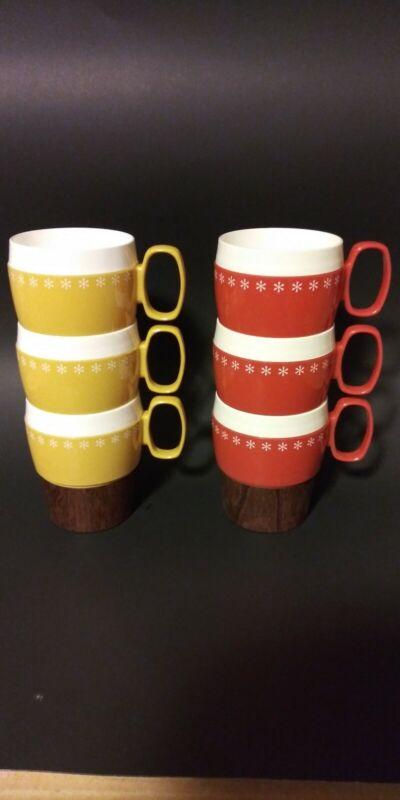 Vintage Mid Century Modern Set Of 6 New-Mar Coffee Mugs #54