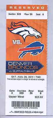 Denver Broncos Buffalo Bills 8/20/11 Full Unused Ticket...Willis McGahee 2 TD's