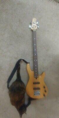 Yamaha N89 bass guitar 4 string natural wood grain with strap