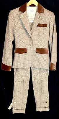 Extremely Rare Hermes Brown Houndstooth Equestrian Riding Outfit Jacket Jodphurs