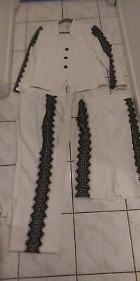ASHRO 3PC SUIT ❤ JACKET,PANTS,& SKIRT WHITE/BLK TRIM ❤ SIZE 14 POLY.STRETCH ❤