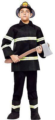 Boys Fireman Costume Fire Fighter Man Black Suit Halloween S M L Child Kids NEW (Halloween Costumes Black Man)