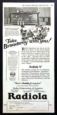 "1923 RCA Radiola V Radio Illustration ""Take Broadway with You"" vintage print ad"