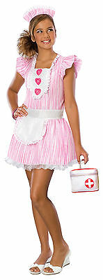 Nouveau Nurse Candy Striper Pink White Cute Dress Up Halloween Teen Costume ()