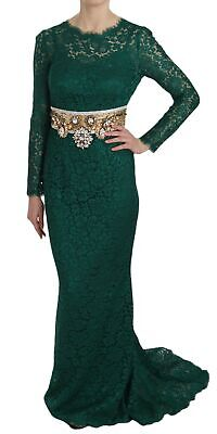 DOLCE & GABBANA Dress Crystal Gold Belt Lace Sheath Gown IT42/ US8 / M RRP $9900