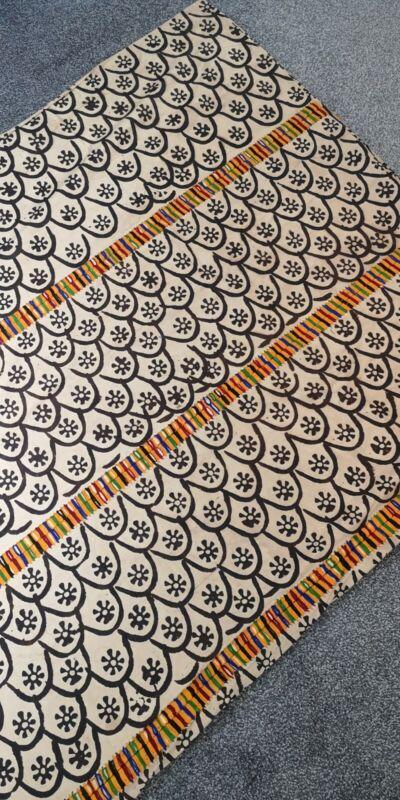 Vintage Ghana Asante Adinkra Stamped Fabric