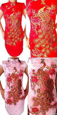 Asia Qipao Geisha Mini-Kleid Dress Kostüm Pfauen-Muster Rot/Rosa - Geisha Kleid Rot Kostüm