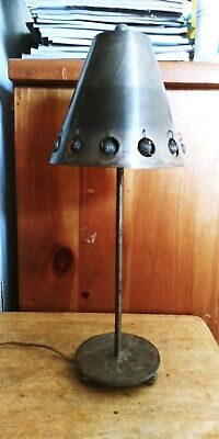 VINTAGE EXCELSIOR METAL TABLE LAMP. RIVETED, PERFORATED, SHEET METAL SHADE.