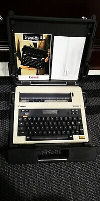 Vintage Portable Canon Typestar 5 Electronic Typewriter W Case And Manual