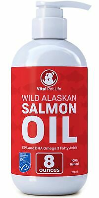 Salmon Oil for Dogs & Cats, Fish Oil Omega 3 EPA DHA Liquid Food Supplement f...