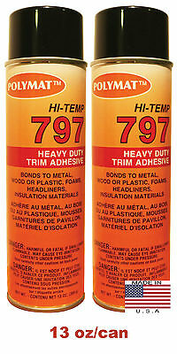 Qty2 Polymat 797 Hi-temp Spray Adhesive Automotive Marine Rv Upholstery Glue