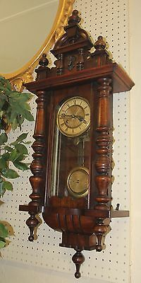 Gorgeous Antique Walnut Vienna Austrian Regulator Wall Clock Great Design Finish