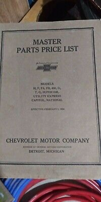 Chevy Master Parts List