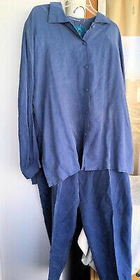 Two Piece | XL 2X Plus Size | Blue Faux Suede Blouse Top w/ Elastic Pants 2 Piece Faux Suede