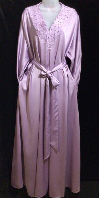 Vintage Halston III Lilac Dressing Gown Kimono Floor Length Free Size Generous