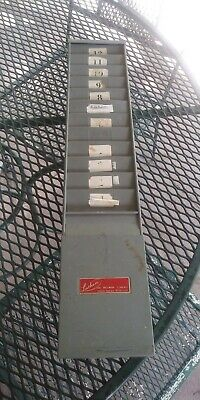 Vintage Latham Time Card Holder Wall 12 Slot Rack Gray Metal Industrial Office