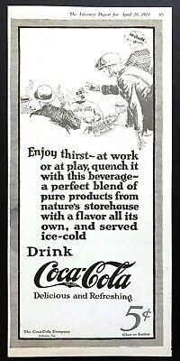 """1923 Coca-Cola Vendor at Baseball Game art """"At Work or Play"""" vintage print ad"""