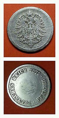 Selten! Kaiserreich Kursmünze 5 Pfennig Deutsches Reich 1875 A Extreme Fehlpräg.