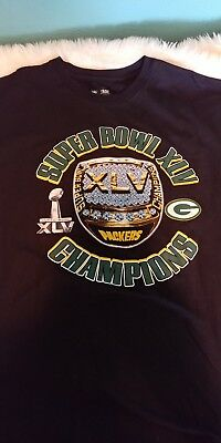 Used, Green Bay Packers NFL Super Bowl Ring XLV 45 Champions Black T-shirt SZ XL for sale  Pueblo