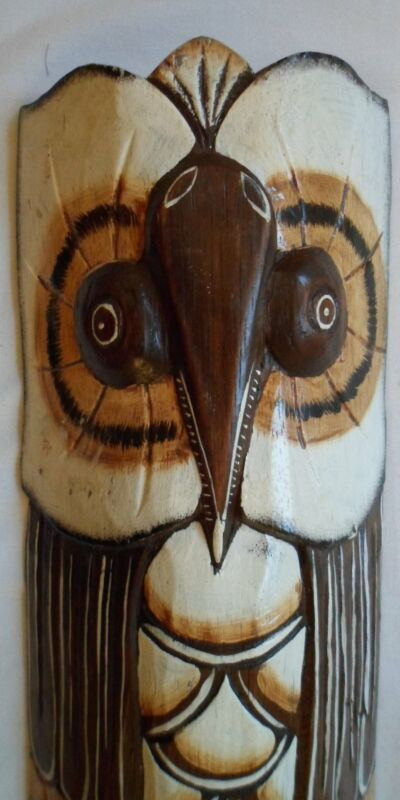 Magnificent Carved & Painted Owl Wall Mask 21021705mm