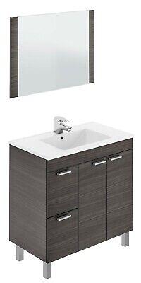 Mueble para baño o aseo gris ceniza con espejo y lavamanos ceramico...