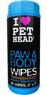 Pet Head Dog Paw & Body Wipes, 50 Wipe Count, Clean your pups paws after walks
