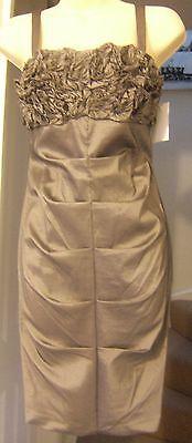 Richards Satin (NEW R&M RICHARDS GREY SATIN RUFFLE BODYCON DRESS Size 10/Eur 38)