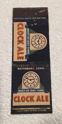 VINTAGE CLOCK BEER MATCH BOOK COVER WITH NO ADS ON BACK WATERBURY CONNECTICUT CT